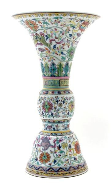 995: A Chinese Gu Form Vase, Height 17 1/4 inches.