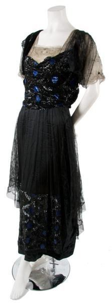1: A Black Tulle, Lace, Velvet and Blue and Black Sequi