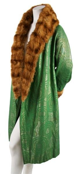 2: A Bonwit Teller Green Brocade and Fur Trimmed Deco O