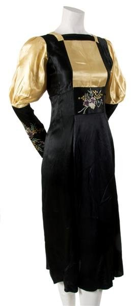5: A French Black and Gold Satin Hand Embroidered Dress