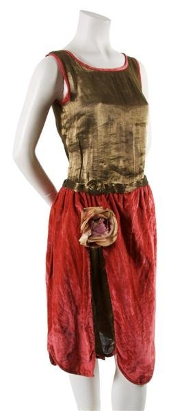 8: A Pink Velvet and Gold Lame Dress,
