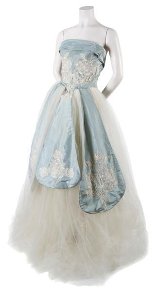 12: An Irene Blue Silk Taffeta and Off-White Tulle Ball