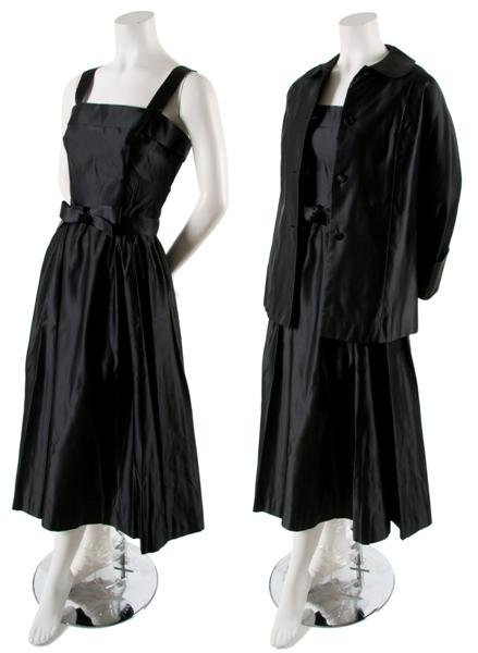 20: A Traina-Norell Black Satin Cocktail Ensemble,