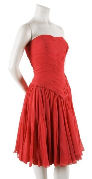 21: A Jean Desses Couture Coral Silk Chiffon Evening Dr