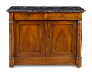 An Empire Gilt Metal Mounted Walnut Marble-Top Cabinet