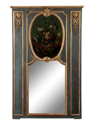 A Louis XV Style Painted and Parcel Gilt Pier Mirror