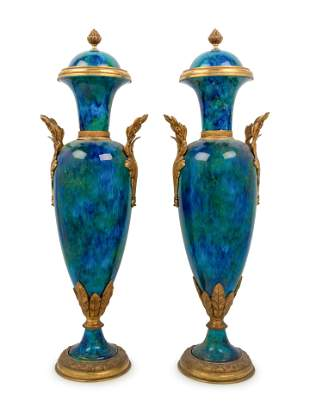 A Pair of Sevres Style Gilt Bronze Mounted Flambe