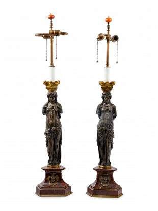 A Pair of French Neoclassical Gilt and Patinated Bronze