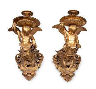 A Pair of Italian Giltwood Figural Wall Brackets