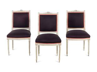 A Set of Three Louis XVI Painted Side Chairs