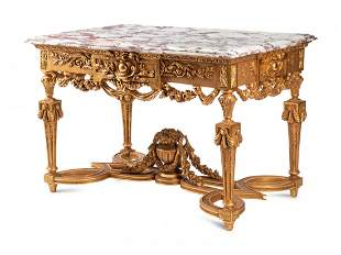 A Louis XVI Style Giltwood Marble-Top Center Table