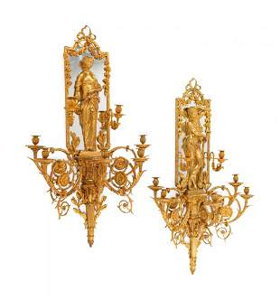 A Pair of Large Louis XVI Style Mirrored Gilt Bronze