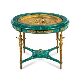 An Empire Style Gilt Bronze Mounted and Malachite