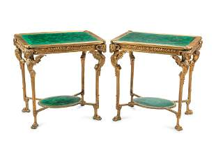A Pair of Neoclassical Style Gilt Bronze and Malachite