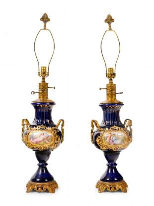 A Pair of Sevres Style Porcelain Vases Mounted as Lamps