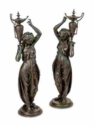 A Pair of French Bronze Figures Cast by Victor Paillard