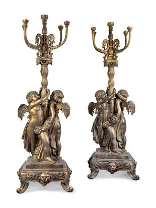 A Pair of Neoclassical Style Parcel Gilt Cast Metal