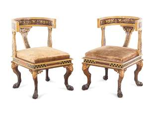 A Pair of Italian Neoclassical Painted Klismos Style