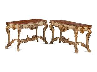 A Pair of Italian Painted and Parcel Gilt Console