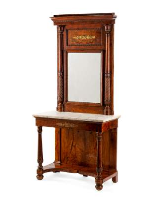 An Italian Walnut Marble-Top Console Table and Mirror