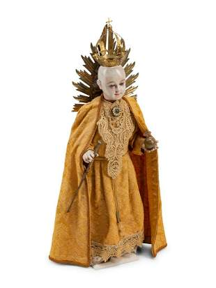 A Spanish Silver-Mounted Figure of a Saint