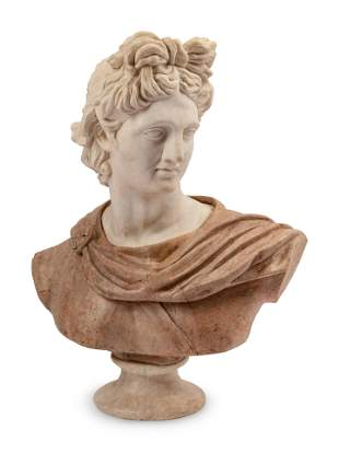 A Carved Marble Bust of a Roman