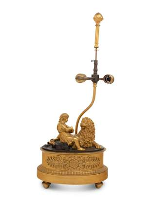 A Continental Gilt Bronze Figural Group Mounted as a