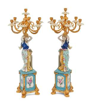 A Pair of German Porcelain and Gilt Bronze Figural
