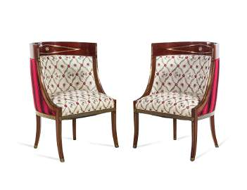 A Pair of Russian Neoclassical Brass Inlaid Mahogany