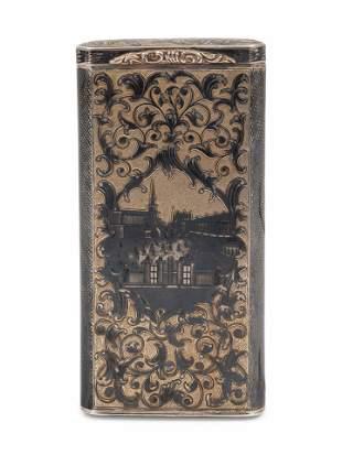 A Russian Silver-Gilt and Niello Cigar Case