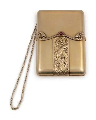 A Russian Silver-Gilt Cigarette Case