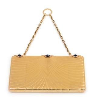 A Russian Yellow Gold and Sapphire Mounted Minaudiere