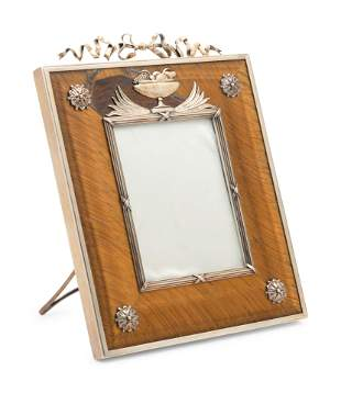 A Russian Silver-Gilt and Tiger-Eye Mounted Picture