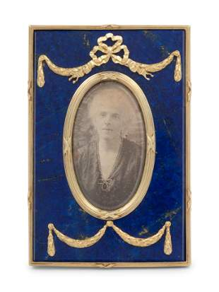 A Russian Silver-Gilt and Lapis Lazuli Mounted Picture