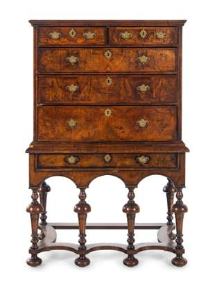 A William and Mary Walnut Chest on Stand