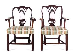 A Pair of George III Carved Mahogany Armchairs