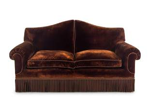 A Custom Two-Seat Sofa with Silk Velvet Upholstery