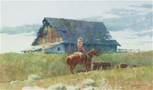 David Halbach (American, b. 1931) Round-Up Time, 1990