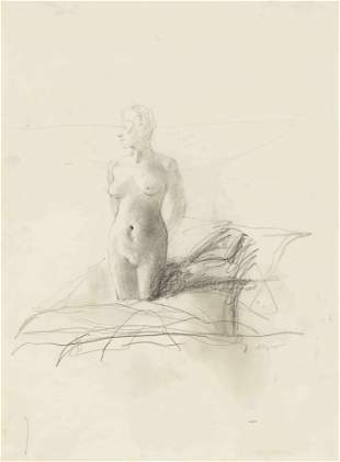 Andrew Wyeth (American, 1917-2009) On Her Knees Study,