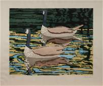 Neil Welliver (American, 1929-2005) Canadian Geese,