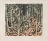 Neil Welliver (American, 1929-2005) Deer, 1982-83