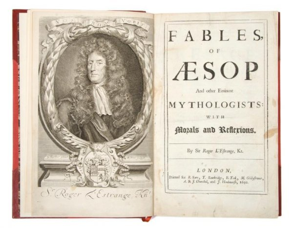 1: (AESOP) L'ESTRANGE, SIR ROGER. Fables of Aesop and O