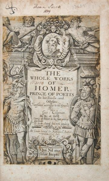10: HOMER. The Whole Works of Homer; Prince of Poetts.