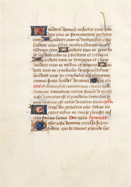 11: (ILLUMINATED MANUSCRIPT LEAF) Vellum, circa 15th ce