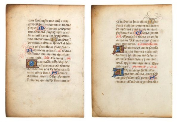 15: (ILLUMINATED MANUSCRIPT LEAF, ANTIPHONAL) 21 x 15 i