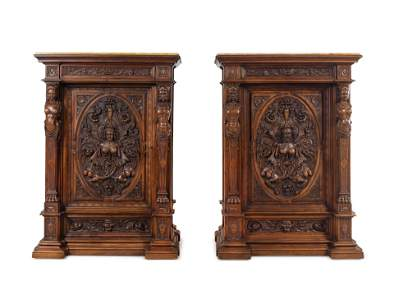 A Pair of Renaissance Revival Carved Walnut Marble Top