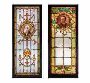 Two Leo P. Frohe Stained Glass Panels