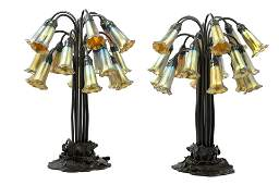 A Pair of Art Nouveau Style Patinated Metal and