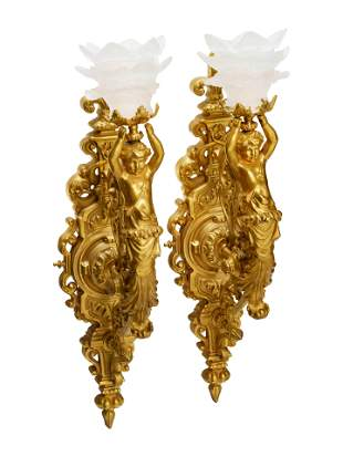 A Pair of Aesthetic Movement Style Gilt Bronze Wall