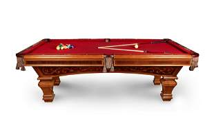A Brunswick Ashbee Mahogany Pool Table and Chair